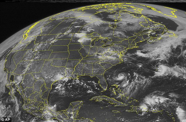 Continued: This NOAA satellite image taken today shows clear skies across most of the Central US