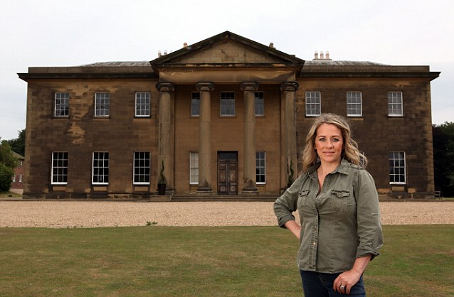 Humble abode: Sarah Beeny poses outside Rise Hall, which she bought in 2001 for over £440,000
