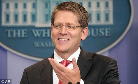 Change of heart: White House Press Secretary Jay Carney announcing that the President will now accept a short-term debt extension