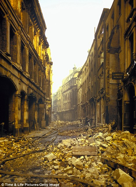 Ghost town: A road in London lies covered in rubble