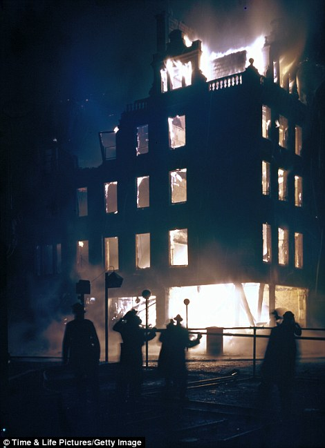 Ablaze: Fire from a direct hit destroys the inside of this building leaving only a shell