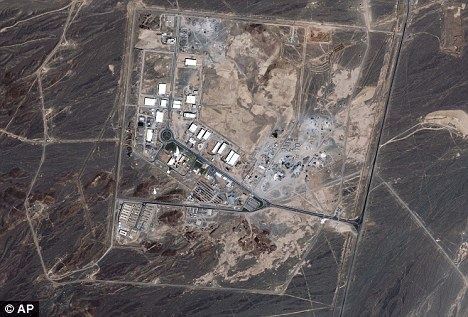 'Spying': A satellite image apparently shows the Natanz nuclear plant in Iran. Authorities claimed the drone was flying over the Fordo plant, near Qom