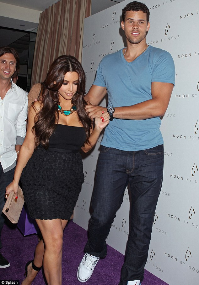 Classic LBD: Kim was joined by her husband-to-be Kris Humphries last night at the Noon By Noor Launch in West Hollywood