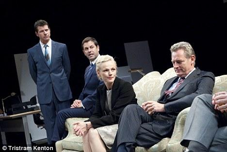 Getting political: (left to right) Lloyd Owen (Nick), Patrick Baladi (Tony), Maxine Peake (Laura) and Michael Simmons (C)
