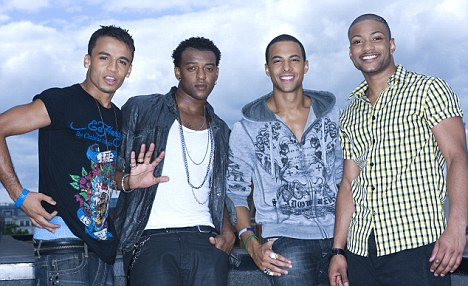 JLS band members, from left, Aston Merrygold, Oritse Williams, Marvin Hume and JB Gill