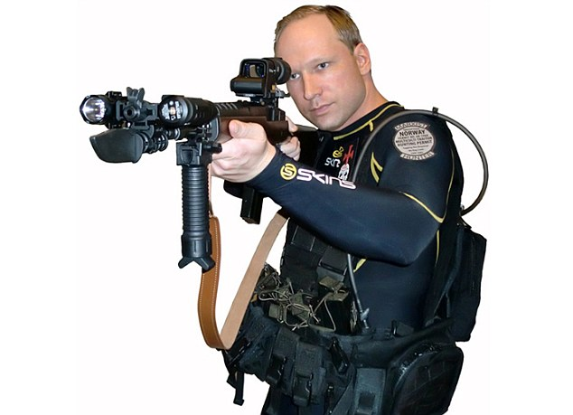 Chilling: A picture of Breivik taken from his manifesto posted just a few hours before he went on a killing spree in Norway