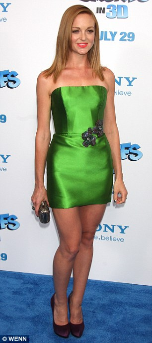Gleek in green: Glee star Jayma Mays rivalled Katy in a tiny green dress