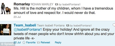 Confusing: Marley and Fontana have been sending mixed messages regarding their relationship over Twitter