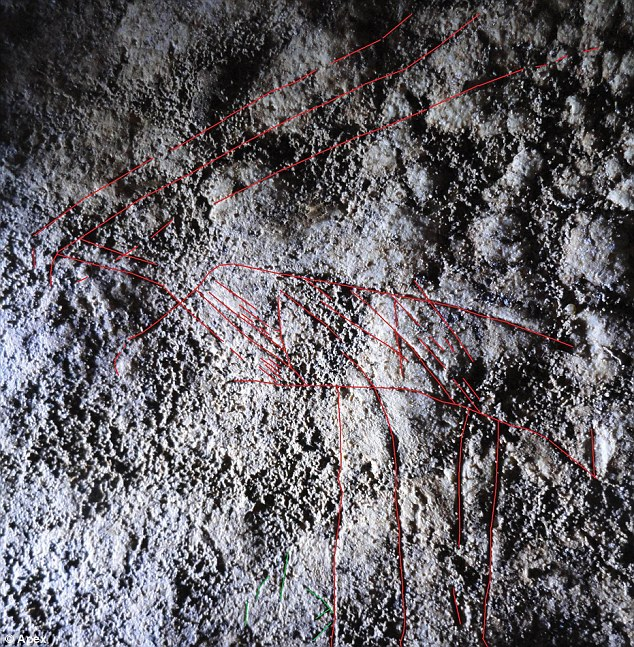 Found in Wales: The faint scratchings of a reindeer with a spear in its neck date back 14,000 years - Britain's oldest cave art