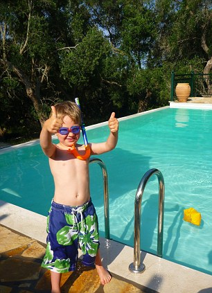 Margarita's son Lucas gets ready to try out the villa's swimming pool