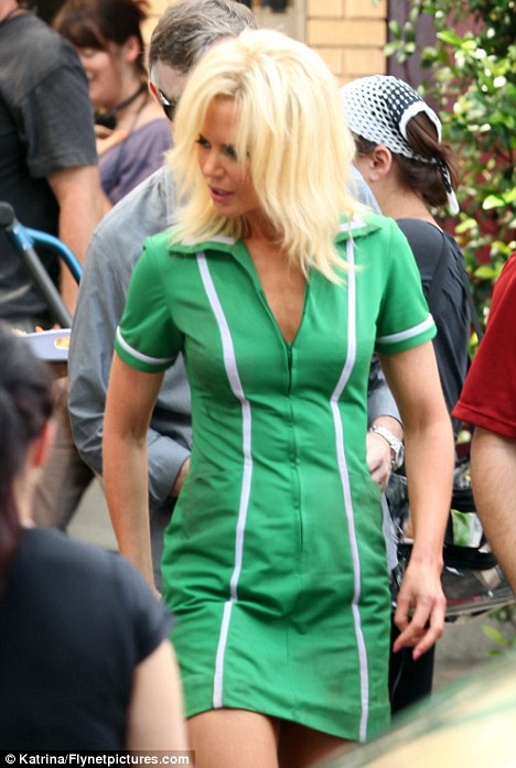 Who's that girl? Nicole Kidman is almost unrecognisable with a bleached blonde hairdo on the set of new movie The Paperboy in New Orleans yesterday