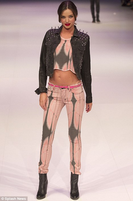 Rock chic: Miranda also wore some edgier outfits on the catwalk for David Jones