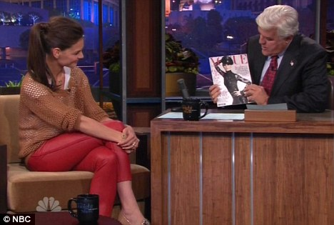 Check her out: Leno admired Holmes' recent cover for Spanish Vogue