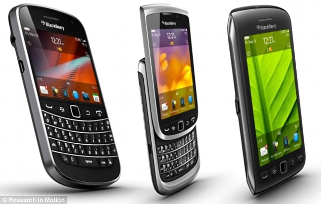 The three new BlackBerry touchscreen phones being released in Britain. Each runs on the new BlackBerry OS 7 and boasts an improved screen display