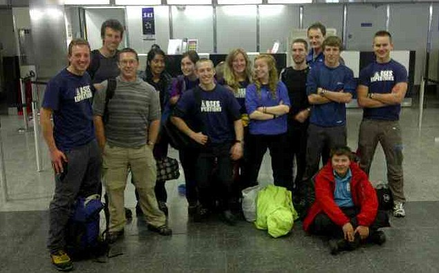 Hopes: A small group of the teenagers pose at the airport before flying to Norway for the trip. It is not known if the dead 17-year-old is among these