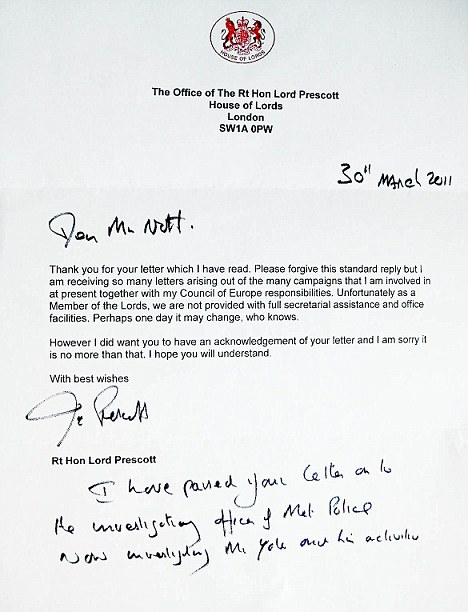 Response: Mr Nott received this letter from Lord Prescott on March 30 this year