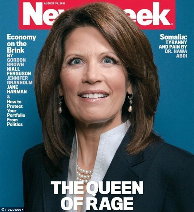 The offending cover: Newsweek magazine has been criticised for using this crazy eyes picture which suggests that Michele Bachmann is unhinged