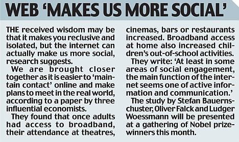 Web 'makes us more social'