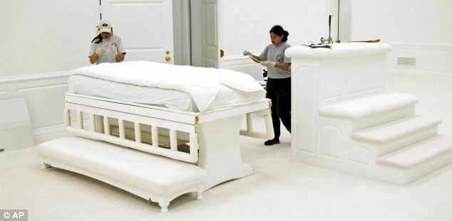 Scene: A room that contains a bed in the main temple at the Yearning For Zion ranch, home of the Fundamentalist Church of Jesus Christ of Latter Day Saints near Eldorado, Texas