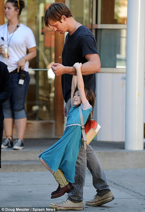 Fun times: He was shooting scenes with his on-screen daughter and was the epitome  of a doting father