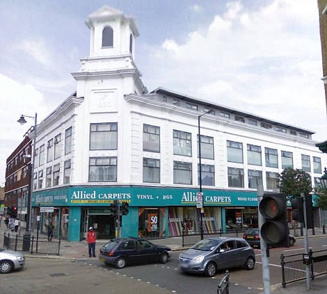 Allied Carpets in Tottenham before the flames engulfed it