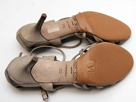 Hell for leather: Joanne's sandals needed to be re-soled following their road test