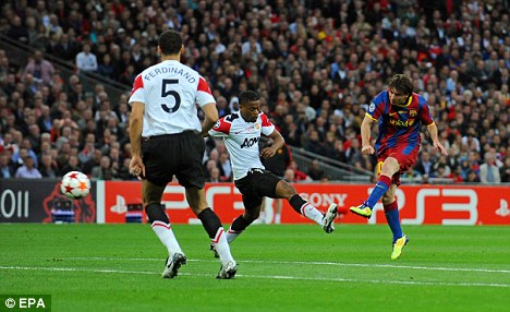 Brilliant: Messi scores for Barcelona in their European Cup final win over United in May