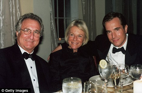 Dumped: Ruth Madoff, centre, has not visited her husband Bernard Madoff, left, after their son Mark, right, committed suicide in December