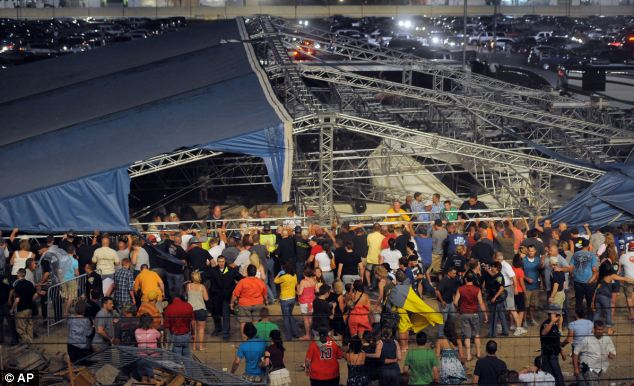 Fall: About a dozen people are reported to have injuries after the stage collapsed