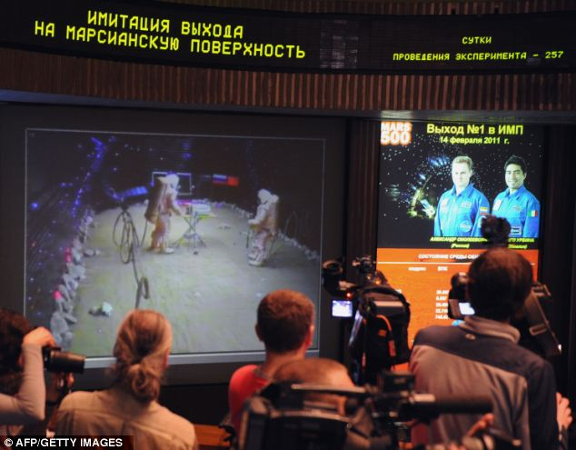 The crew was seen 'landing on Mars' after 257 days in the capsule before their return journey to Earth
