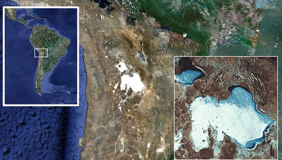 Exact location: Bolivia is home to the salt flats, while a NASA satellite pic shows the area from above