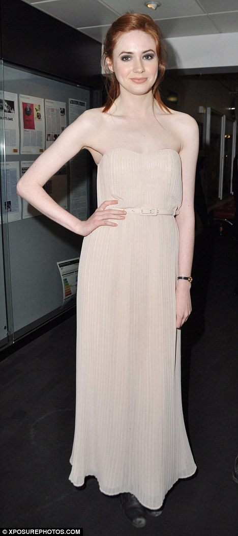 Redhead beauty: Karen looked stunning in a flesh-coloured dress at the Doctor Who Q&A screening on Monday