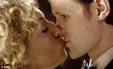Love is in the air: Alex Kingston and Matt Smith share a kiss on screen, although Karen Gillan insists there will be no funny business