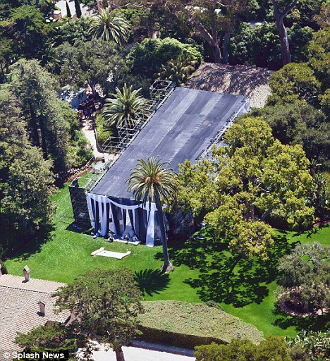 Picturesque: Kim's wedding is taking place on the grounds of the rented Sotto Il Monte mansion in Montecito, California