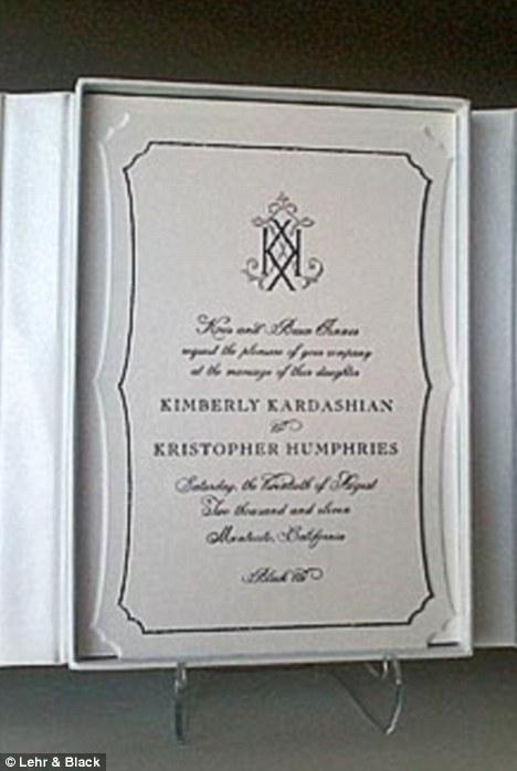 Official invite: Kim chose an elegant black and white design for her wedding invitation