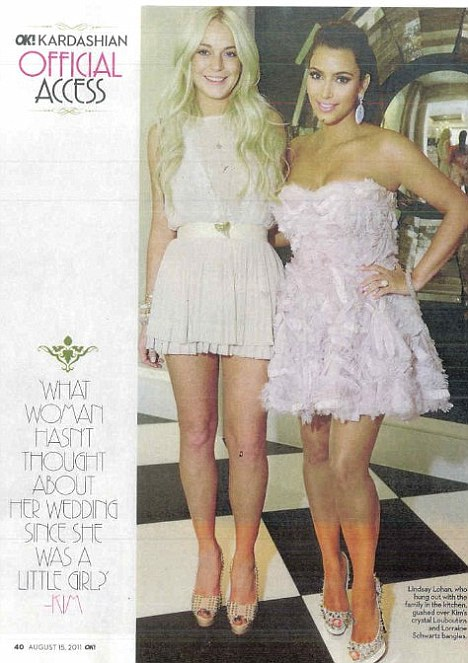 Together again: OK! Magazine published this picture of Lindsay at Kim's bridal shower last month