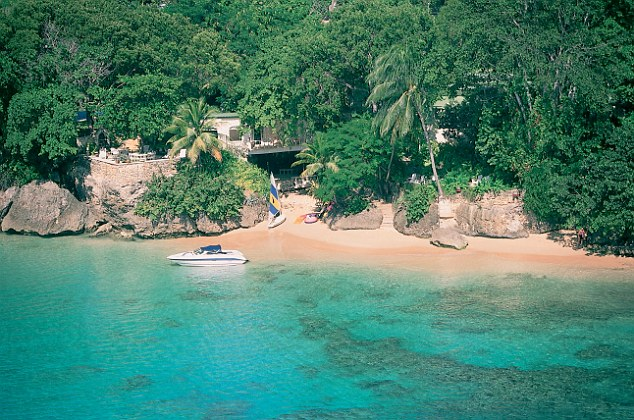 The house in Barbados, complete with motor boat, where Jamie and his wife Sophie stayed