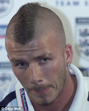 David Beckham's mohawk in 2001