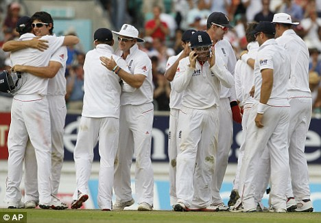 England united: Players rejoice after victory at The Oval