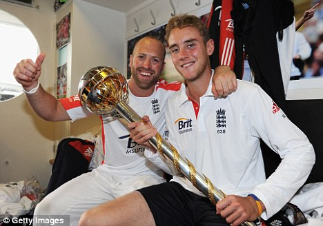 Mace partnership: Broad with Matt Prior (left), after England were crowned the world's top Test team