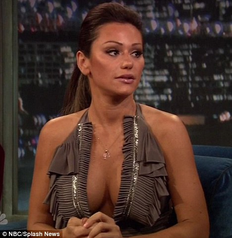 Transformation: Jenni 'JWoww' Farley looked altered from her appearance on Jimmy Fallon last week, to when she was seen out back in June