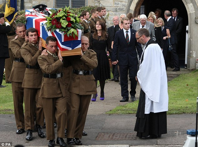 The Last Post was sounded as the coffin left the church on the shoulders of members of the Lieutenant Clack's regiment, before a rifle salute was fired