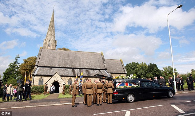 When the coffin arrived at the church, the strains of Amazing Grace were played, leaving many dabbing their eyes