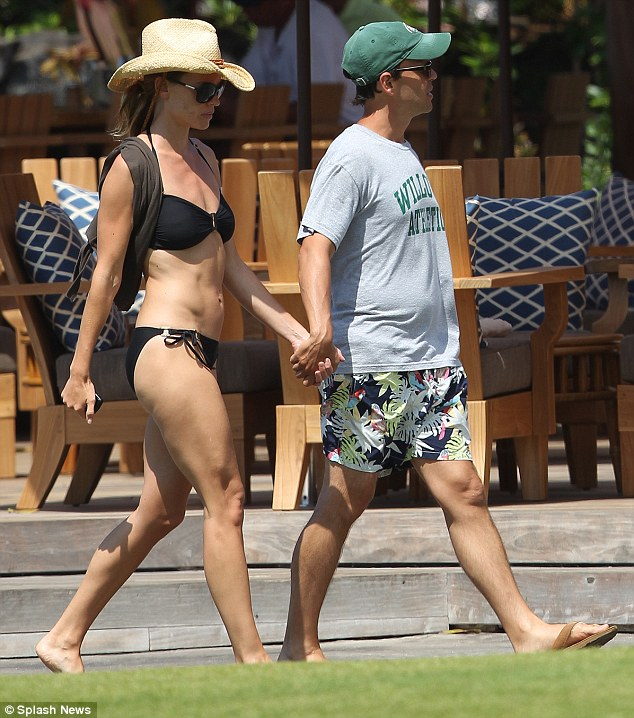 Hand in hand: The Million Dollar Baby star is on vacation with her long-term boyfriend John Campisi