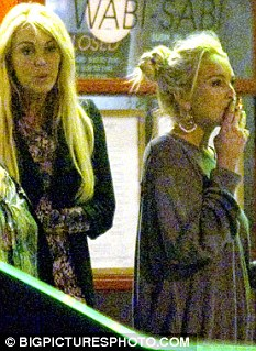 Out on the town: Lindsay and mother Dina leaving a restaurant this week in Venice Beach, California