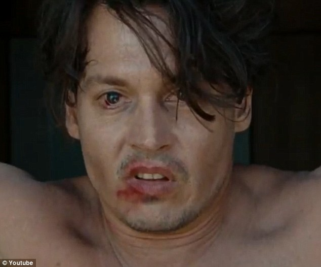 Rude awakening: A hungover Johnny Depp cannot believe his eyes when he wakes up in a strange hotel in Puerto Rico