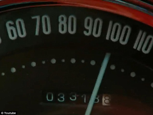 Slow down: It looks like trouble is ahead for the couple as the car speeds above 100mph