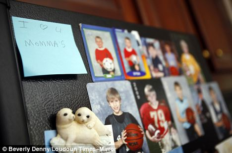 Love: A note Jaden Steele wrote for her mothers, who have been a couple for 19 years, is on the refrigerator next to photos of her brother Jackson