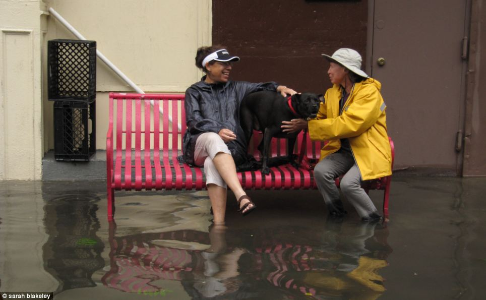 Just having a chat: Locals shoot the breeze while ankle deep in flood water in New York City