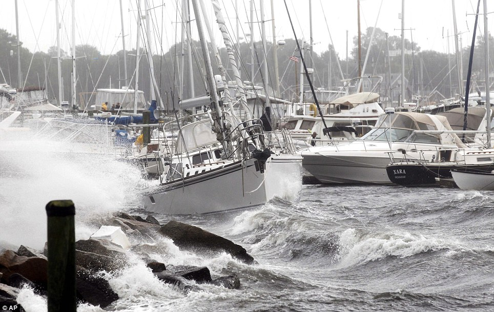 Choppy: A sailing boat breaks loose from its mooring as Hurricane Irene heads towards the shore in New Bedford, Massachusetts